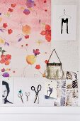 Floral pinboard and handbag