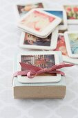 Hand-crafted photo coaster on gift box