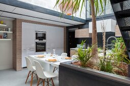Open-plan fitted kitchen with dining area and house plants in foreground
