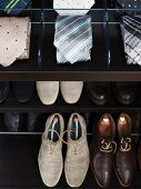 A wardrobe with compartments for shoes and accessories such as ties