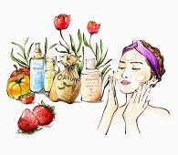 Frau beim Eincremen daneben Zutaten für die Naturkosmetik (Illustration)