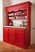 Red-painted, country-house-style dresser