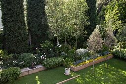 View down onto garden with lawn and raised flower bed