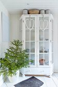 Heart-shaped wreaths hung on doors of white-painted display case next to fir branches in floor vase