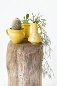 Vintage-Arrangement mit gelben Krügen und Kakteen auf einem Holzklotz