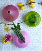 Arrangement of pink and green fifties-style vases