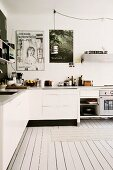 White L-shaped kitchen counter in Scandinavian kitchen