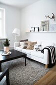 Black and white furniture in modern living room