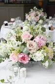 Romantic bouquet on wedding table