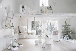 White Christmas decorations and branches in white interior