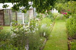 Idyllic flowering garden with greenhouse and lawn path