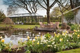Pond, seating area and greenhouse in spring garden