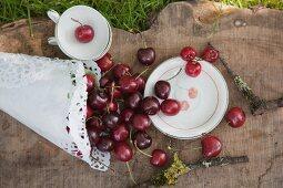 Geschirr mit aufgedrucktem Kirschmotiv, Kirschen in einer Papiertüte