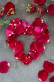 A heart made from rose petals