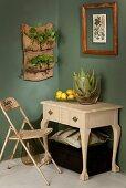 Aloe vera plant in glass vase below nasturtiums planted in hessian pocket planter hung on dark green wall