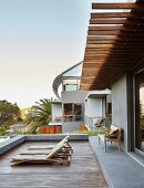Terrace of luxurious architect-designed house
