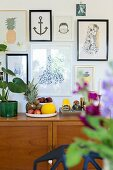 Gallery of pictures above Jasper Morrison fruit bowl and house plant on retro sideboard