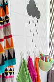 Graphic patterns and bright colours in bathroom