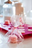 Hand-made soaps shaped like miniature Bundt cakes
