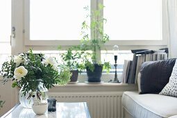 Glass vase of white flowers on table in front of house plants on windowsill