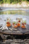 Layered salads in mason jars for river-bank picnic