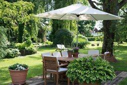 Sonnenschirm integriert in Gartentisch und Holzstühle mit weissen Polstern in sommerlichem Garten