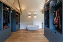 Closets and bathtub in modern bedroom