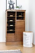 Paper sack next to vintage roll-front shoe cabinet in restored period apartment