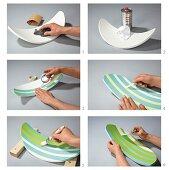 Stuhlrückenlehne mit Farbstreifen neu gestalten