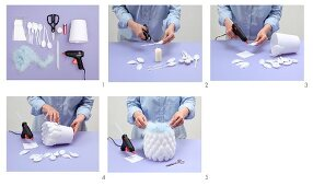 Instructions for making a lampshade from plastic spoons