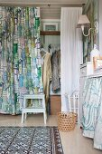 Walk-in wardrobe behind retro curtain