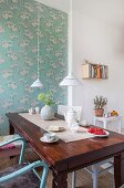 Vintage dining table and chairs in period apartment