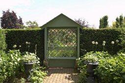 Kleine Laube mit Diagonalgitter und hohe Buchshecken als Begrenzung eines Sommergartens