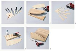 Instructions for adding a knife block to a chopping board