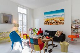 Designer furniture in Pop-Art living room