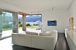 Modern living room with panoramic windows