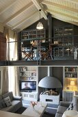Open fireplace in pleasant living area below study on gallery