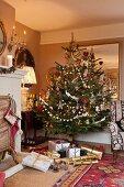 Christmas tree in English living room