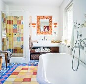 Bright tiles with various patterns in bathroom