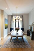 Simple furnishings in elegant dining room