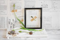 Still-life arrangement of tulips and picture frame against wall papered with book pages