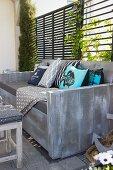 DIY wooden garden sofa on terrace