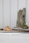 Rubber ducky on driftwood and seashell on edge of bathtub
