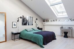 Double bed in spacious attic bedroom
