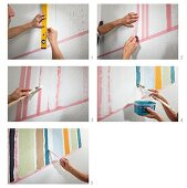 Instructions for decorating a wall with colourful painted stripes