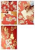 Instructions for gilding floral wallpaper