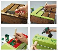 Instructions for making a tray table from an old fruit crate