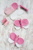 Instructions for making pink and white felt butterflies