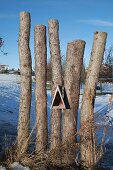 Bird feeding table and rustic sawn-off tree trunks