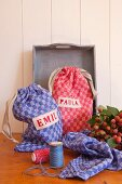Sandwich bags hand-sewn from red and blue checked fabric